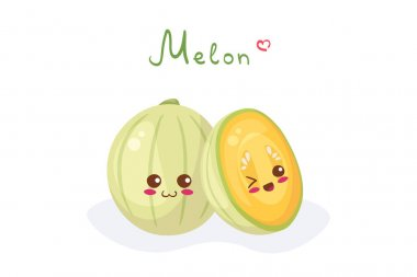 Kawaii Melon characters - whole and sliced. Healthy exotic food characters vector illustration isolated on white background with lettering. Use for food hall menu, t-shirt print, smoothie, juice. icon