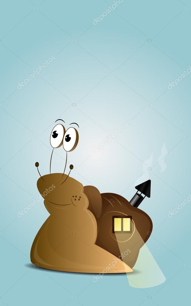 Lumaca di cartone animato con casa u vettoriali stock zuzoli