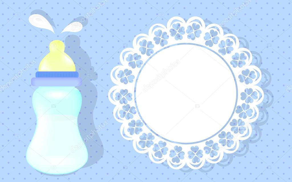 Baby Boy Shower Card. Blue Background As Greeting Card For Newborn. U2014 Stock  Vector