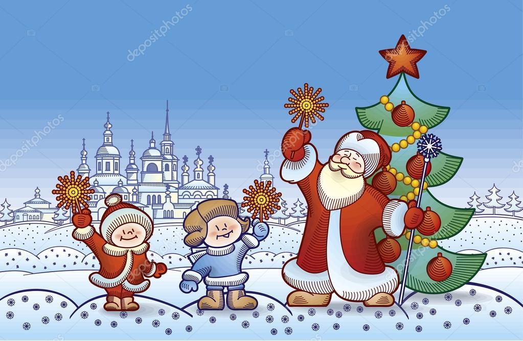 Ilustración para Navidad y año nuevo Santa Claus con niños encendió ...