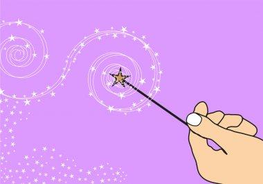 Hand with magic wand