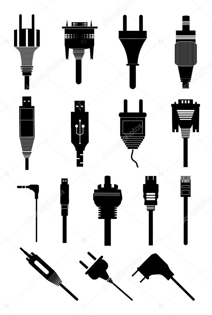 Elektrische Stecker polig Symbole Satz — Stockvektor © sdp_creations ...
