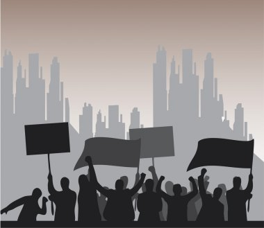 Protesters crowd landscape background