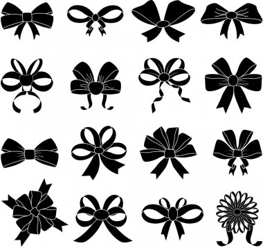 Ribbon bows icons set on white background, vector stock vector