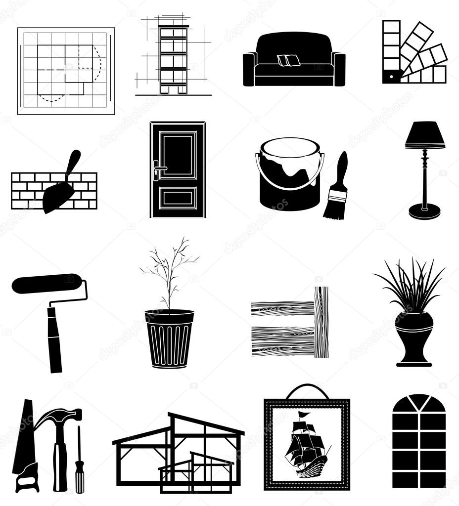Interior design icons set stock vector sdp creations for Interior design images vector