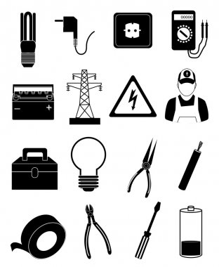 Electrician icons set