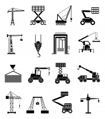 Heavy lifting machines icons set
