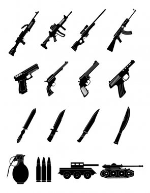 Military weapons icons set