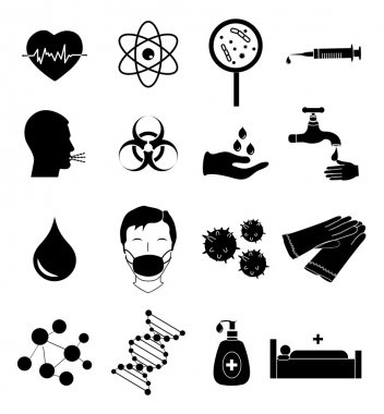 Virus infect icons set