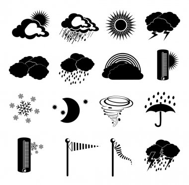 Weather icons set, vector illustration clip art vector