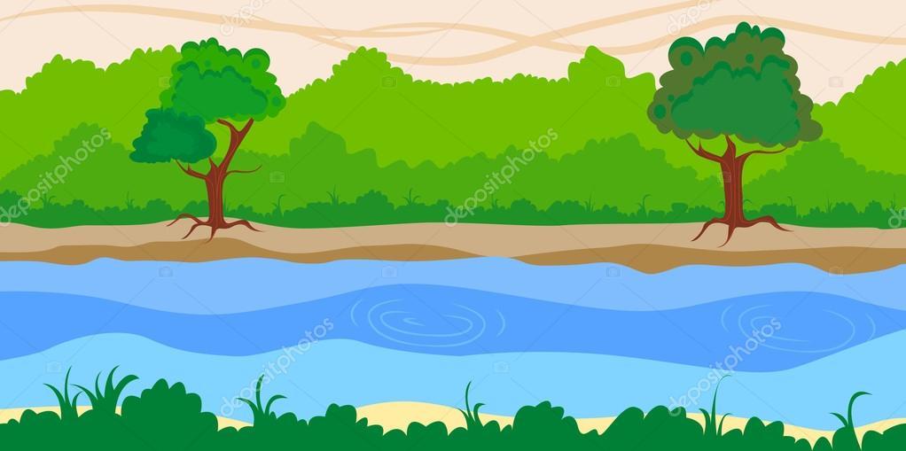 Riverside landscape background