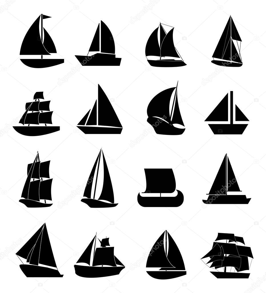 Sail boats icons set