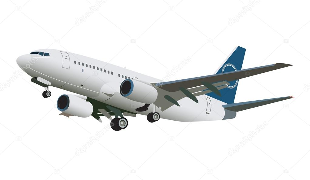 Airplane flying on white background