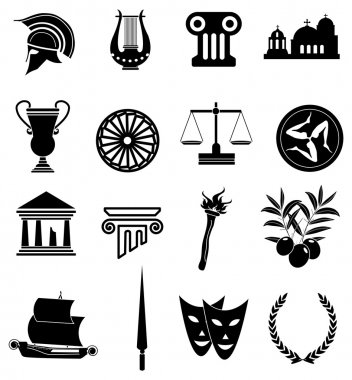Rome Greek icons set