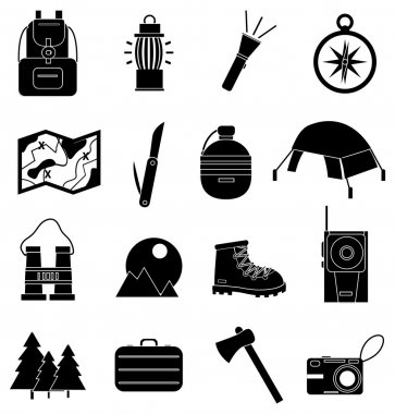 Hiking icons set