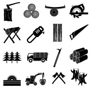 Timber icons set