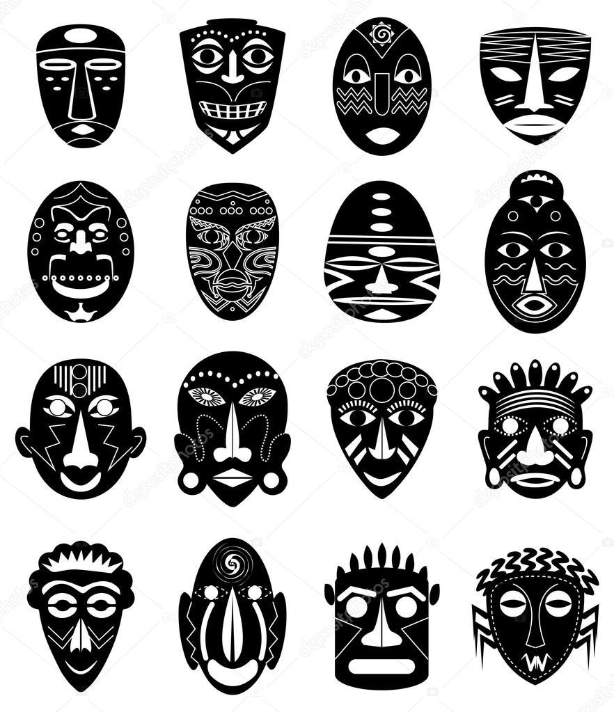 Tribal masks icons set