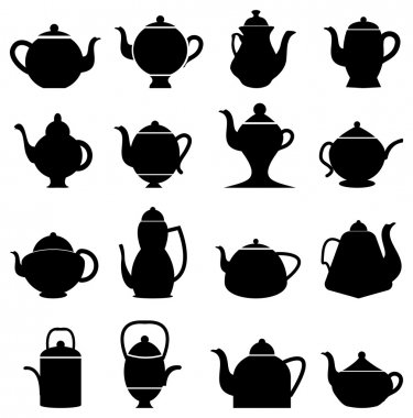 tea pots icons set