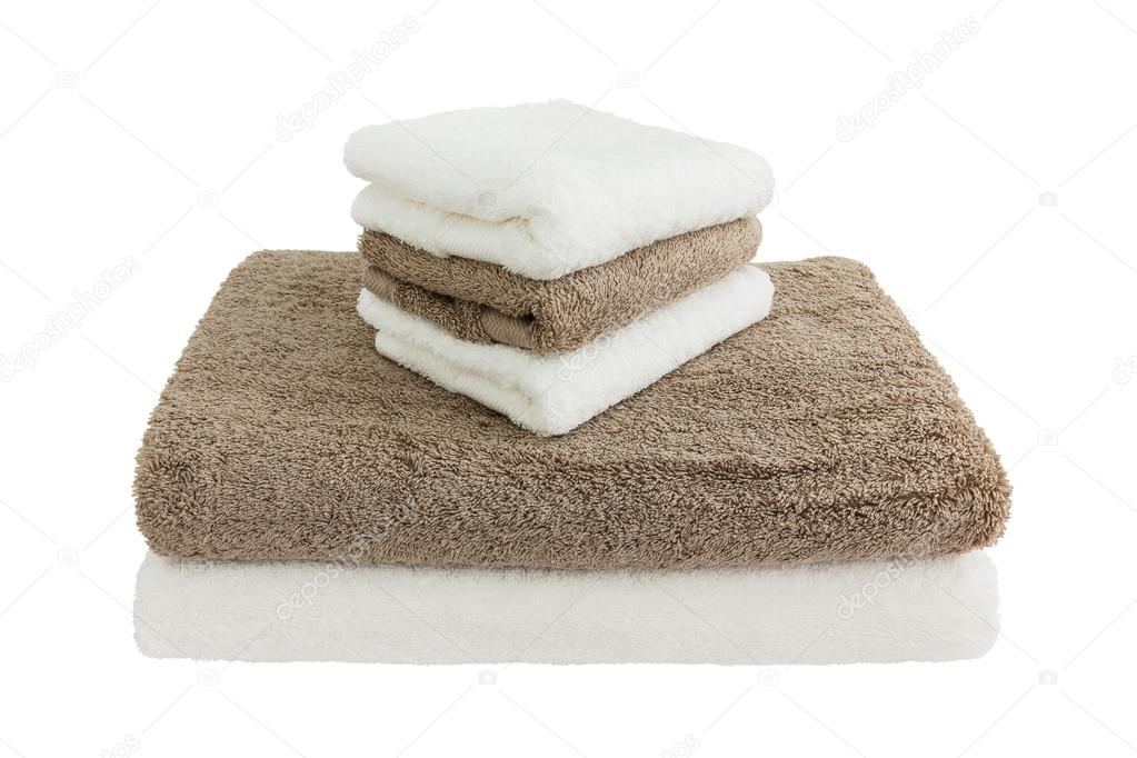Asciugamani da bagno bianco e marrone. isolato u2014 foto stock © laima