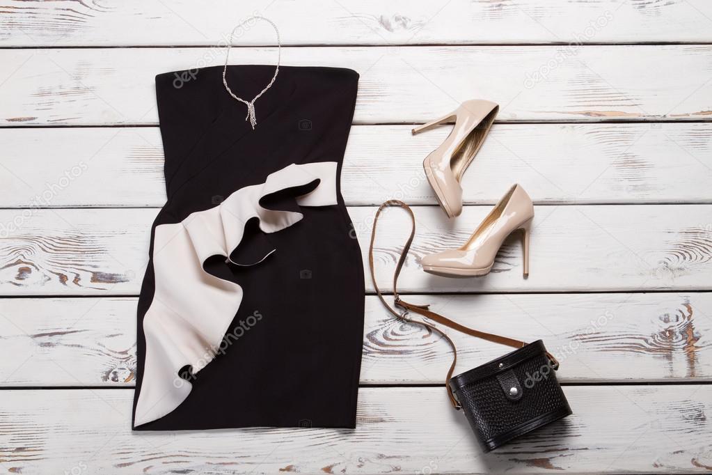 a27a63c5a73 Černé šaty a retro kabelky. Tmavý retro taška na předváděčce. Dámské  večerní pohled s příslušenstvím. Oblečení