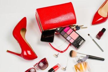 Red shoes and handbag.