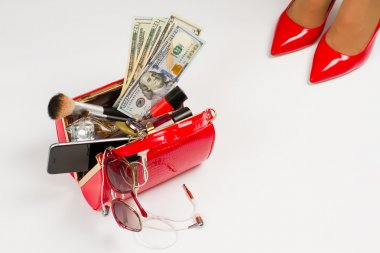 Handbag with women's accessories.