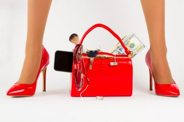 Beautiful red bag with shoes.