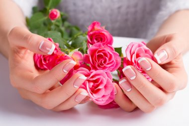Beautiful gentle french manicure.