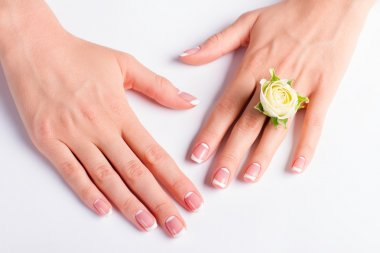 Beautiful female hands with french moon manicure.