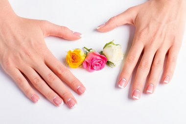 French lunar manicure with buds of roses.