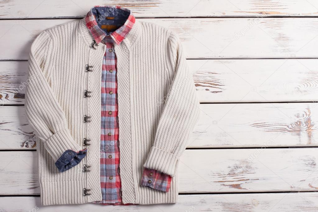 Pull Blanc Avec Une Chemise A Carreaux Photographie Margostock