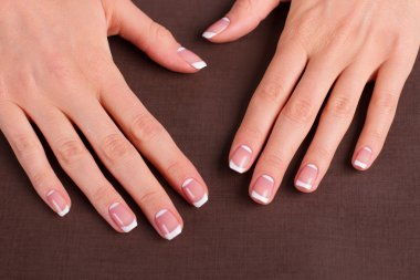 Trendy french manicure.