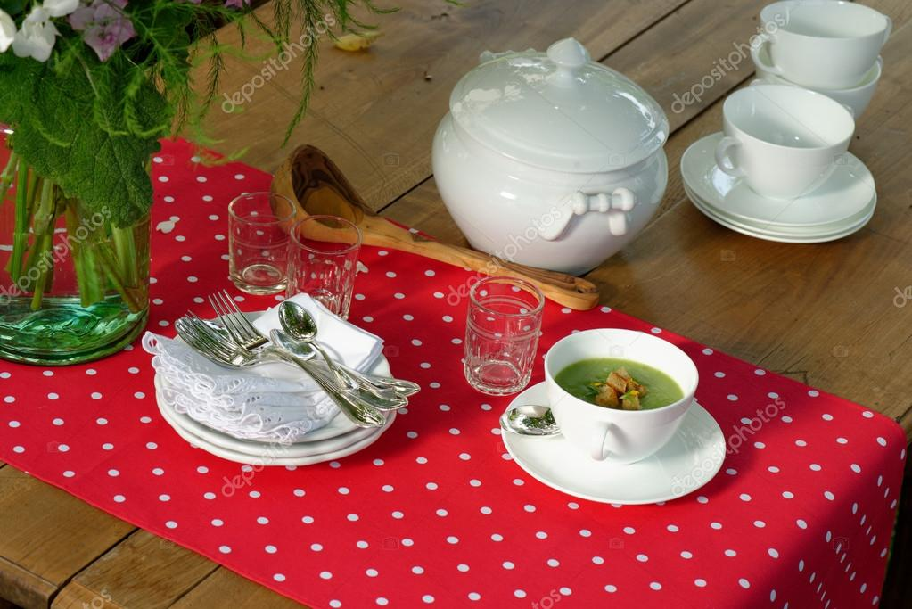 Served table with dishes outdoors