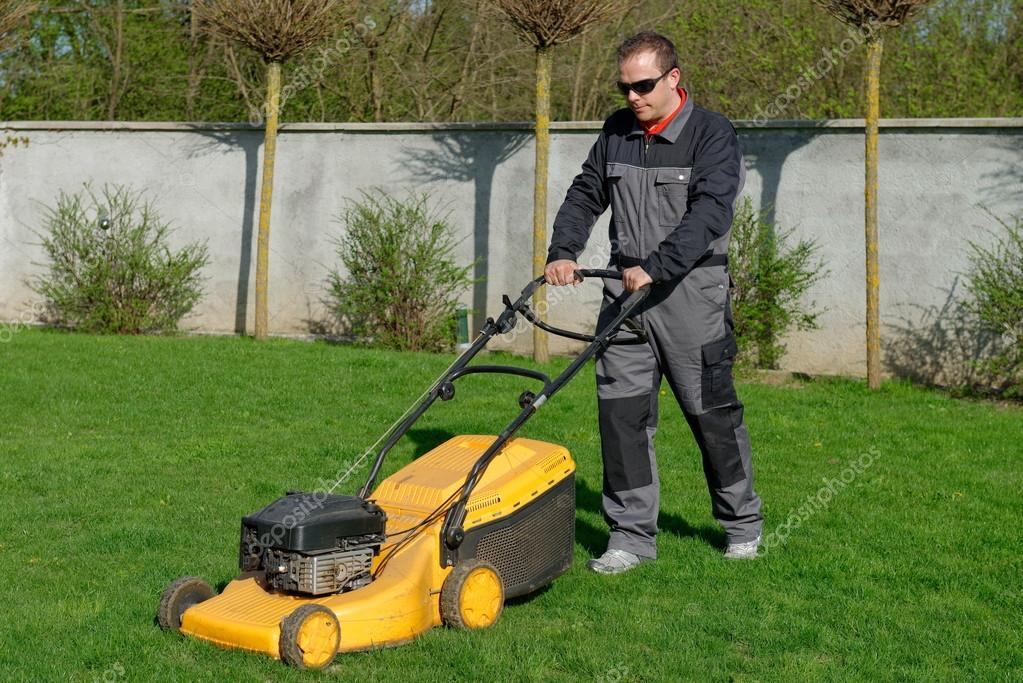 Lawn mower man working