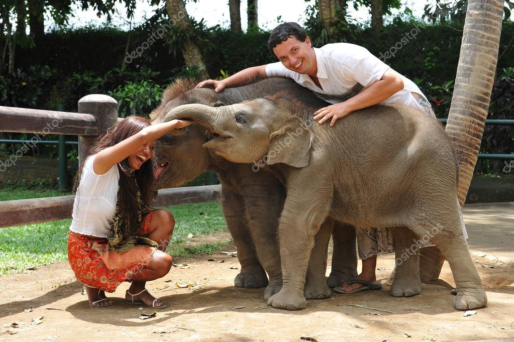 couple playing with baby elephants