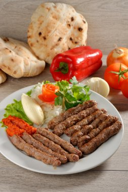 Cevapcici, a small skinless sausages