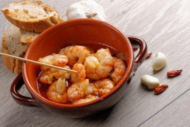 sizzling prawns with chili and garlic