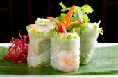 Vietnamese salad rolls with shrimps, chicken, herbs