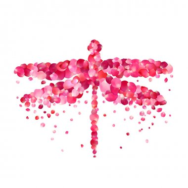 dragonfly of pink rose petals isolated on white