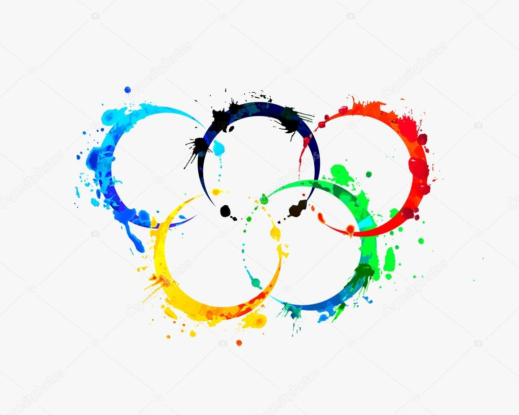 olympic rings of splash paint � stock vector 169 ukususha