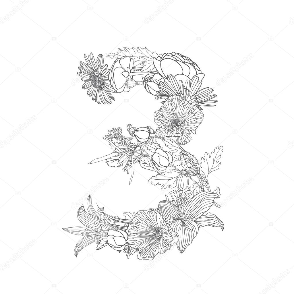 Linear black on white floral numeral figure 3