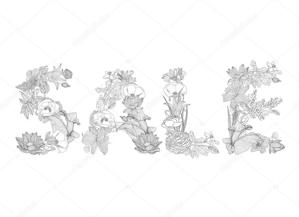 Word-Verkauf von linearen floral Schriften. Werbe-Banner für ...