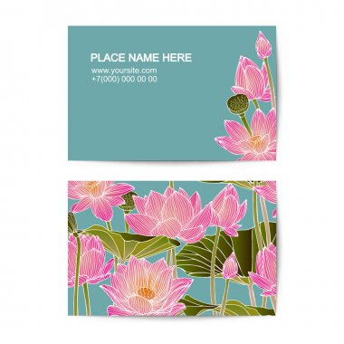 visiting card template with lotus flowers