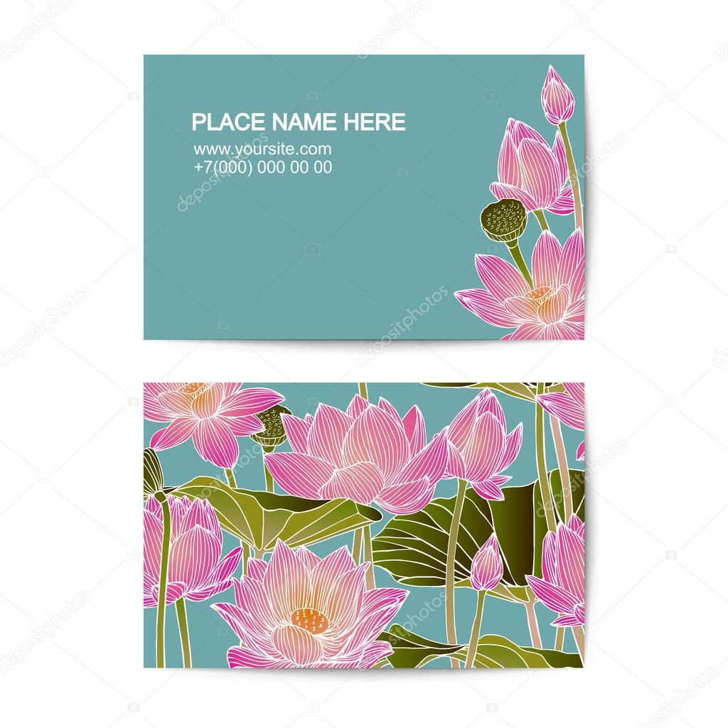 Modle De Carte Visite Avec Des Fleurs Lotus Image Vectorielle