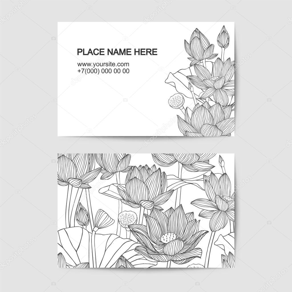 Modele De Carte Visite Avec Des Fleurs Lotus Lineaire Vecteur Par Ukususha