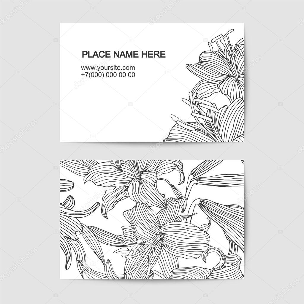 Modele De Carte Visite Avec Fleurs Du Lis Lineaire Illustration Stock