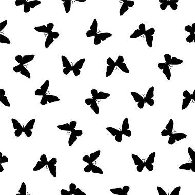 Seamless pattern - flat black on white butterflies
