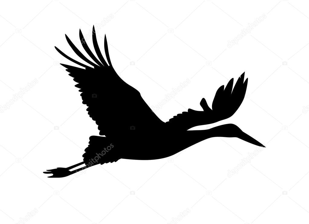 Ooievaar vogel. Vector silhouet — Stockvector © Ukususha #120453816