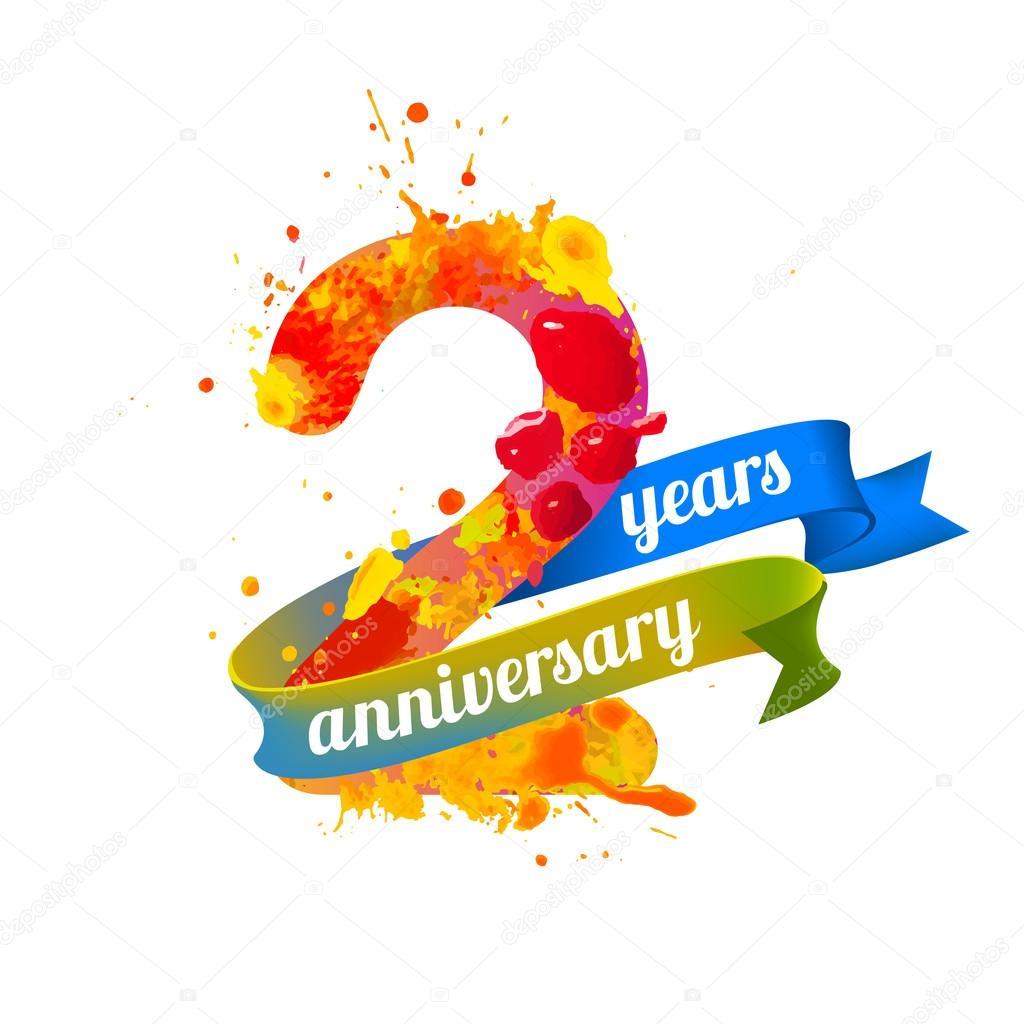 Twee 2 Jaar Verjaardag Stockvector C Ukususha 123160274
