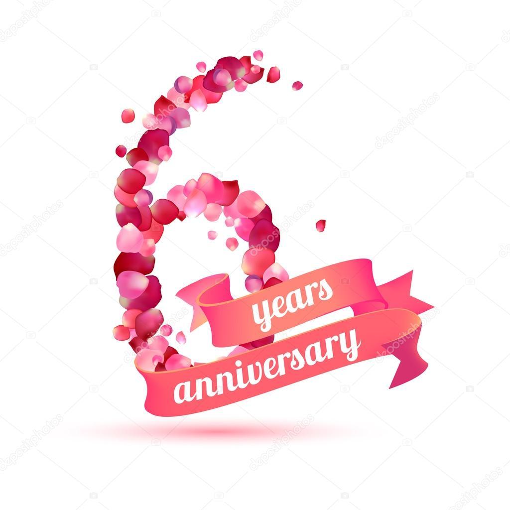 Anniversario Matrimonio 6 Anni.Six 6 Years Anniversary Stock Vector C Ukususha 123791446